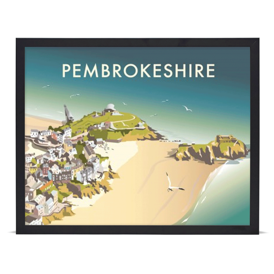 Place in Print Dave Thompson Pembrokeshire Travel Poster Art Print Black Frame
