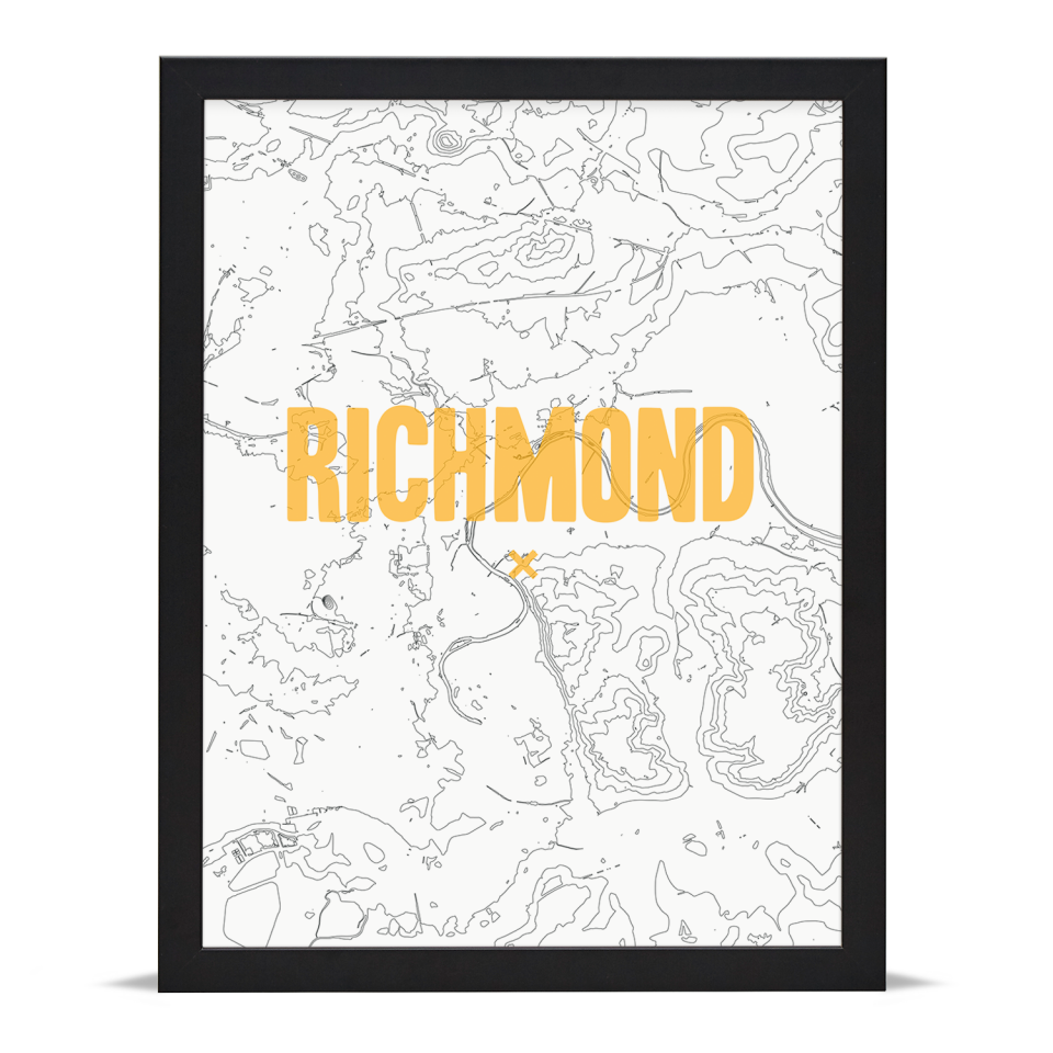 Place in Print Richmond Contours Gold Art Print Black Frame