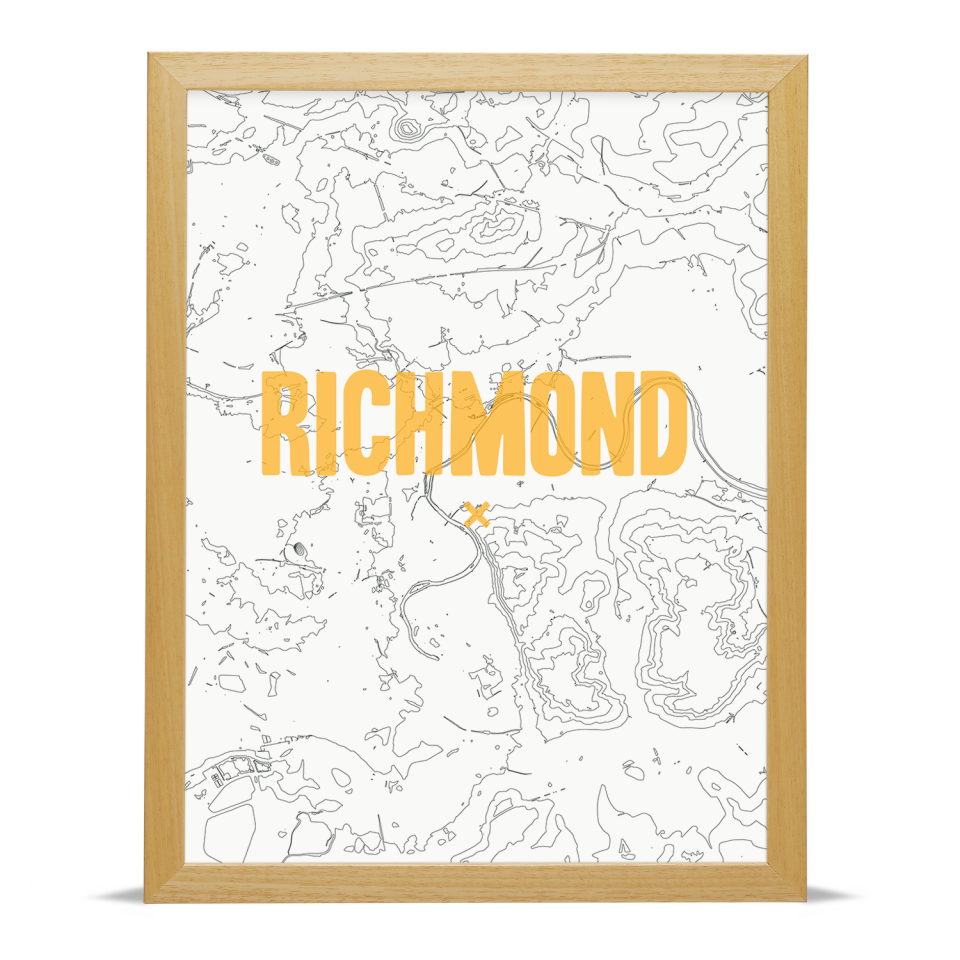 Place in Print Richmond Contours Gold Art Print Wood Frame