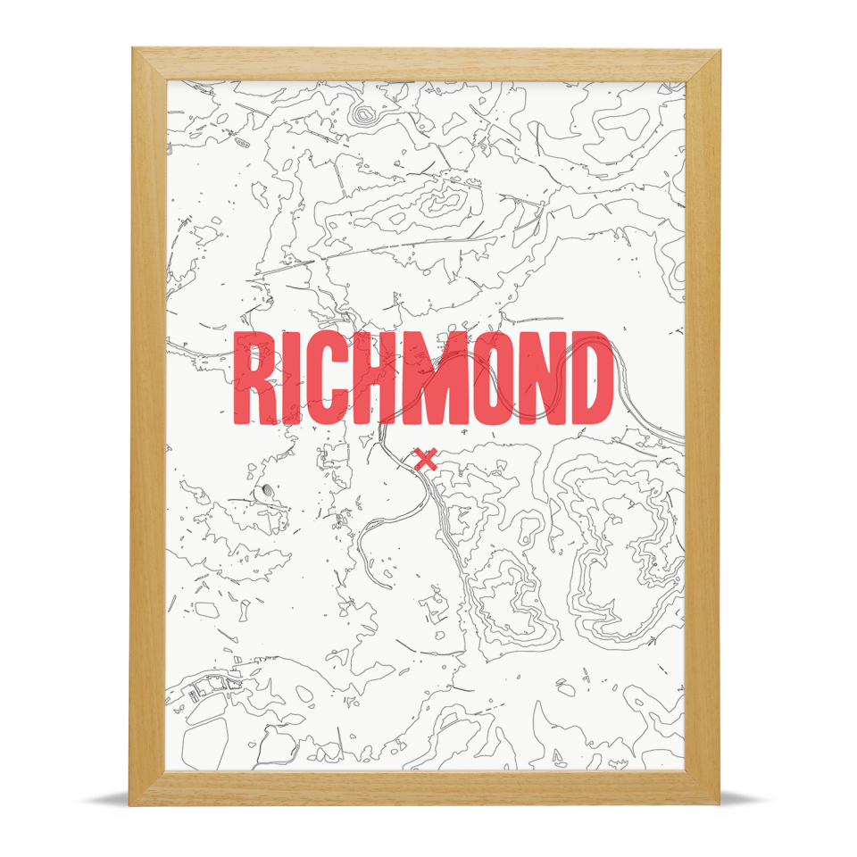 Place in Print Richmond Contours Red Art Print Wood Frame