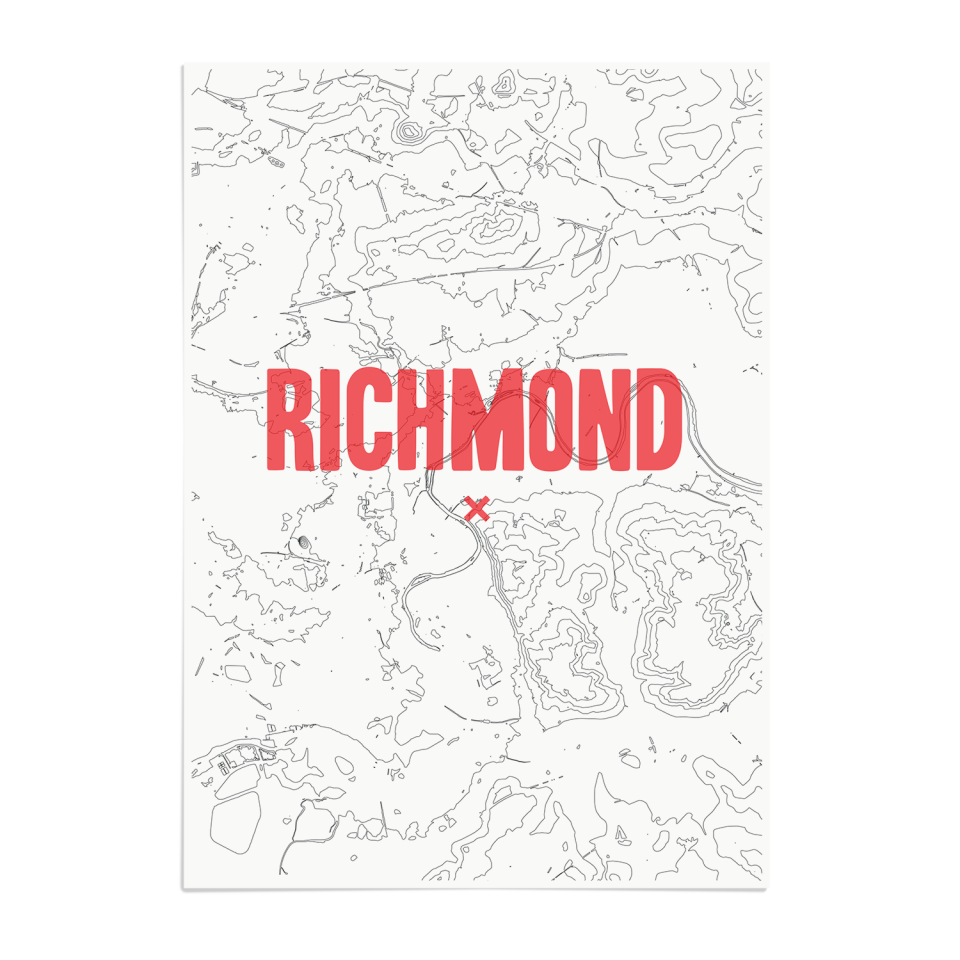 Place in Print Richmond Contours Red Art Print Unframed