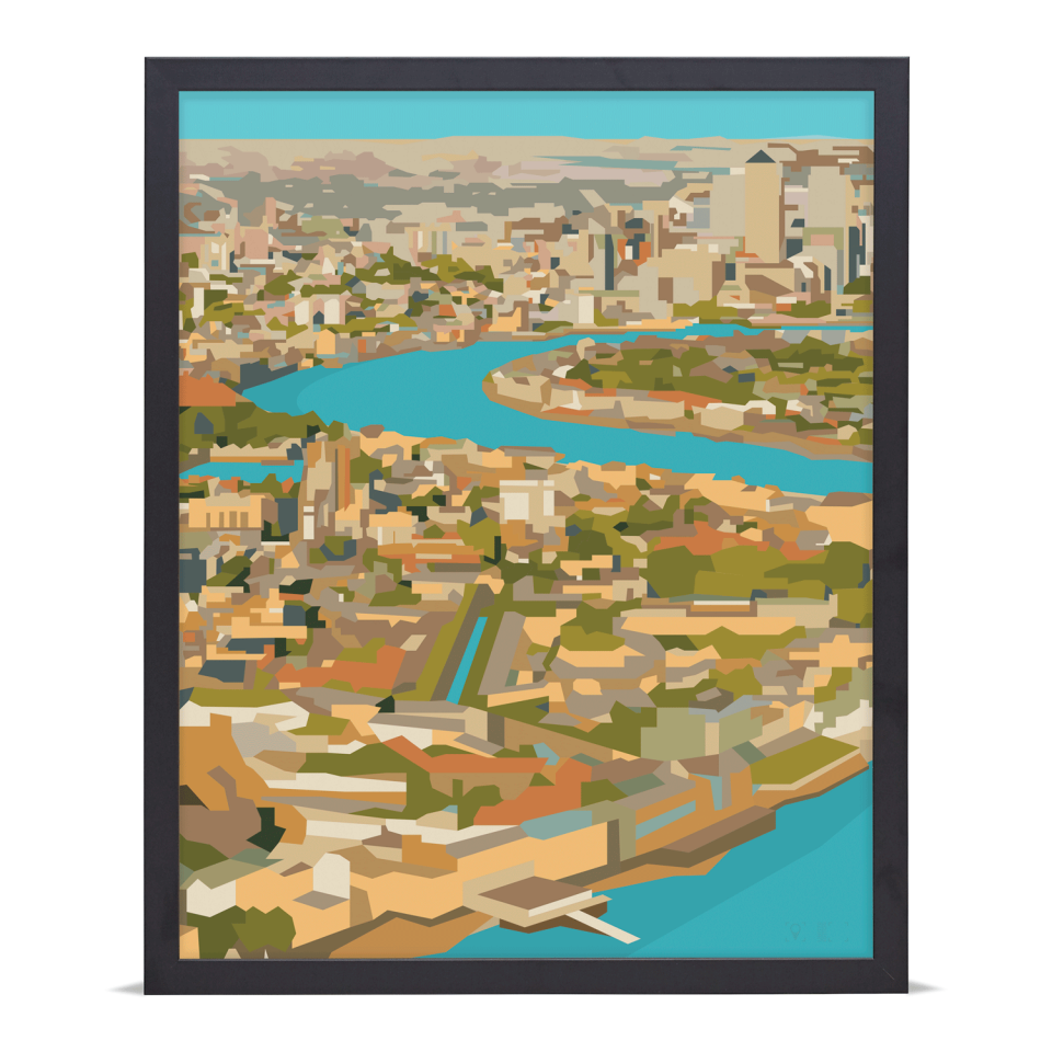 Place in Print Rooftops of East London View Art Print A2 Black Frame