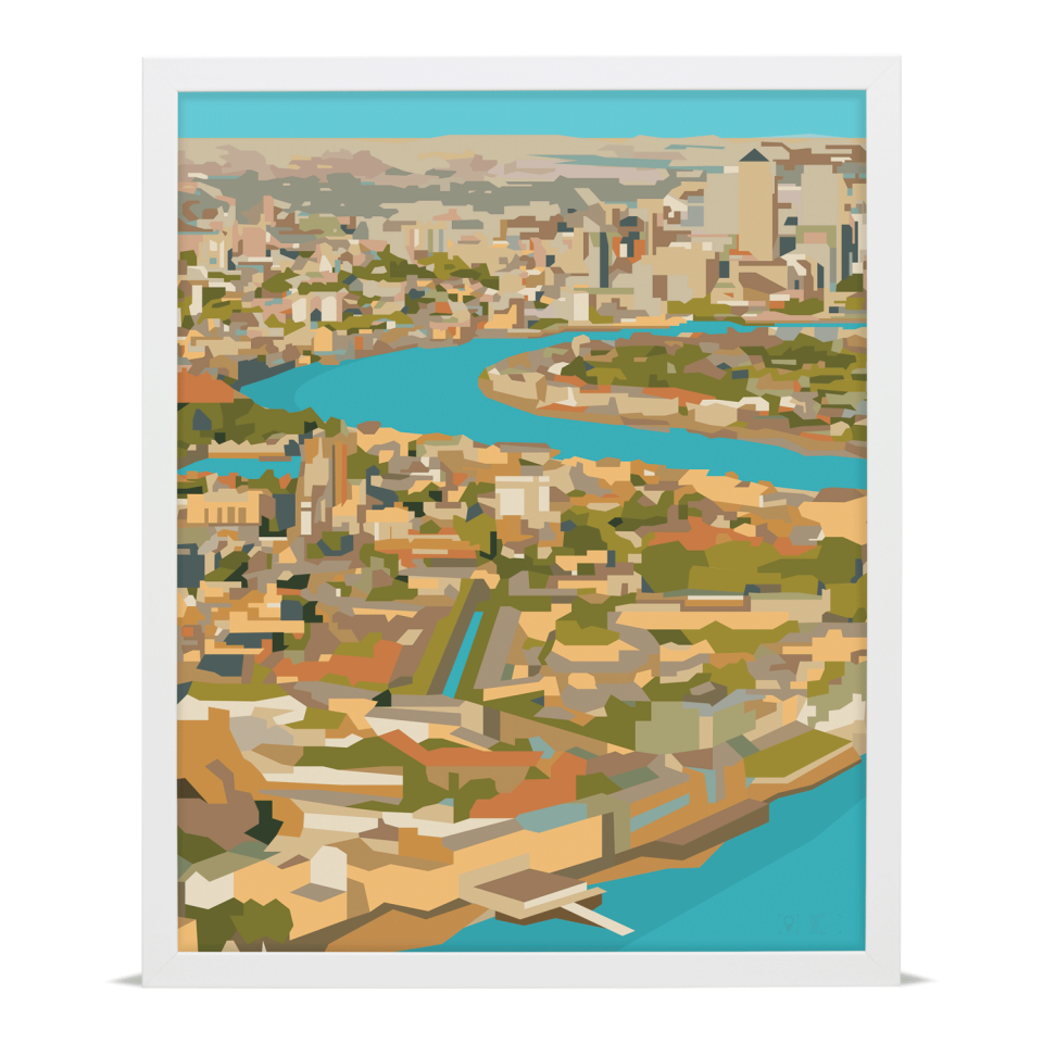 Place in Print Rooftops of East London View Art Print A2 White Frame