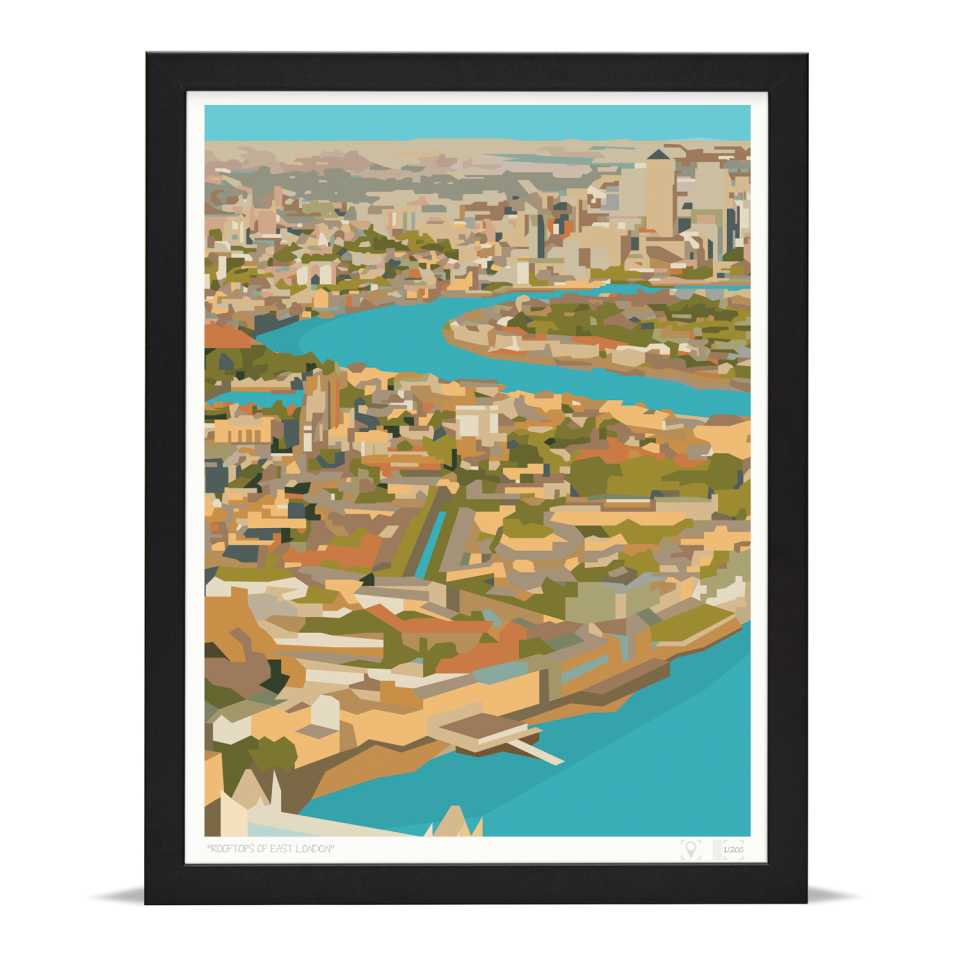 Place in Print Rooftops of East London View Art Print A3 Black Frame