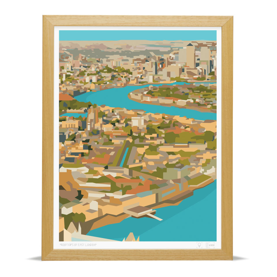 Place in Print Rooftops of East London View Art Print A3 Wood Frame