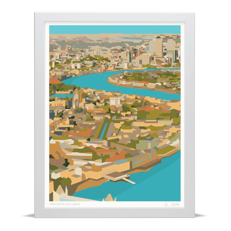Place in Print Rooftops of East London View Art Print A3 White Frame