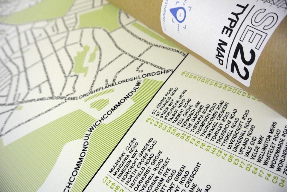SE22 Dulwich Typographic Map Art Poster Print Tube