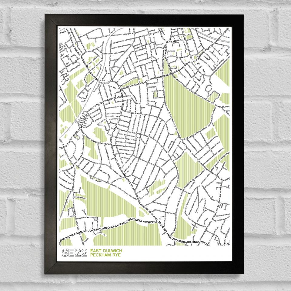 SE22 Dulwich Typographic Map Art Poster Print Black Frame