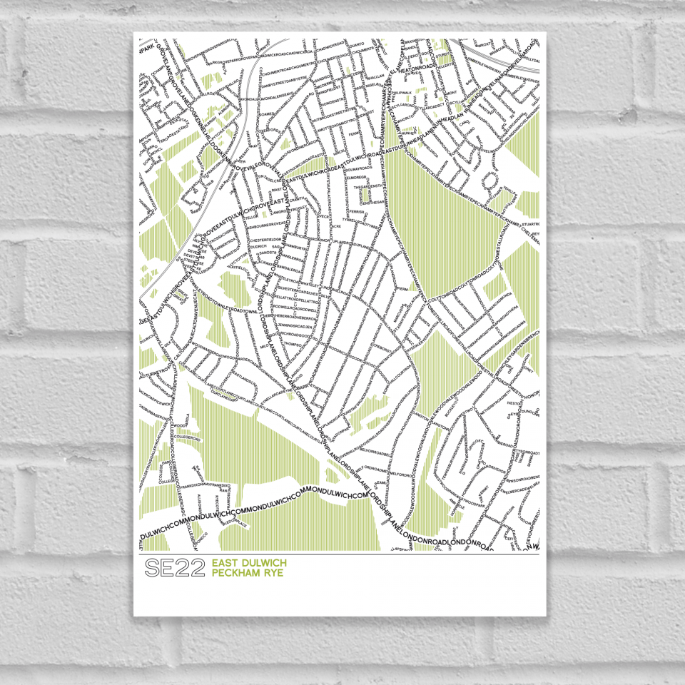 SE22 Dulwich Typographic Map Art Poster Print Unframed