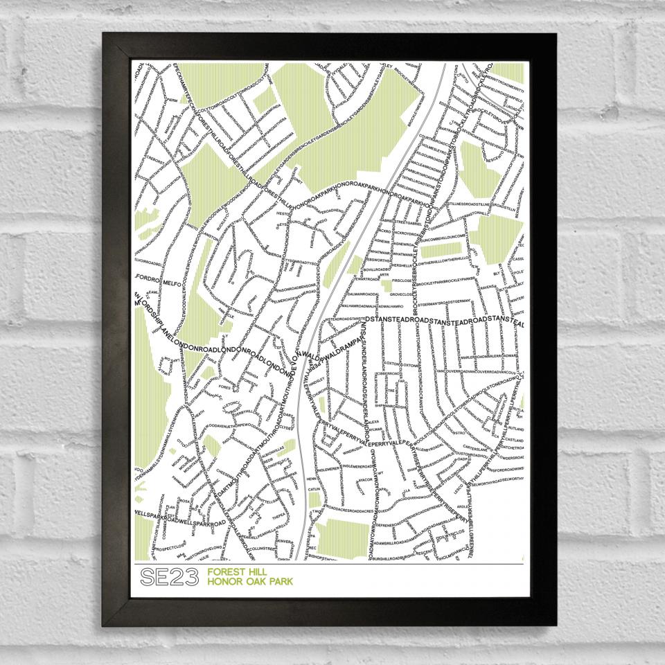 SE23 Forest Hill Typographic Map Art Poster Print Black Frame