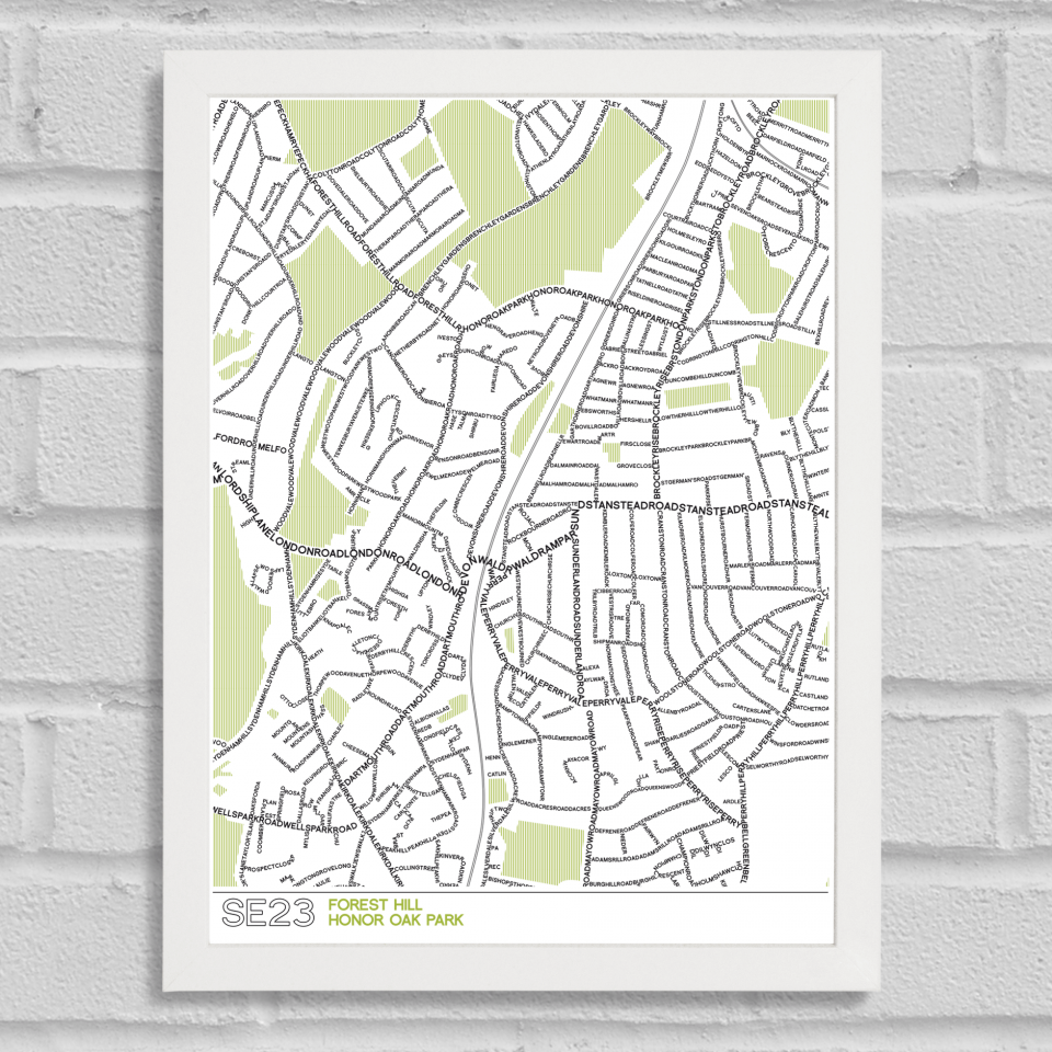 SE23 Forest Hill Typographic Map Art Poster Print White Frame