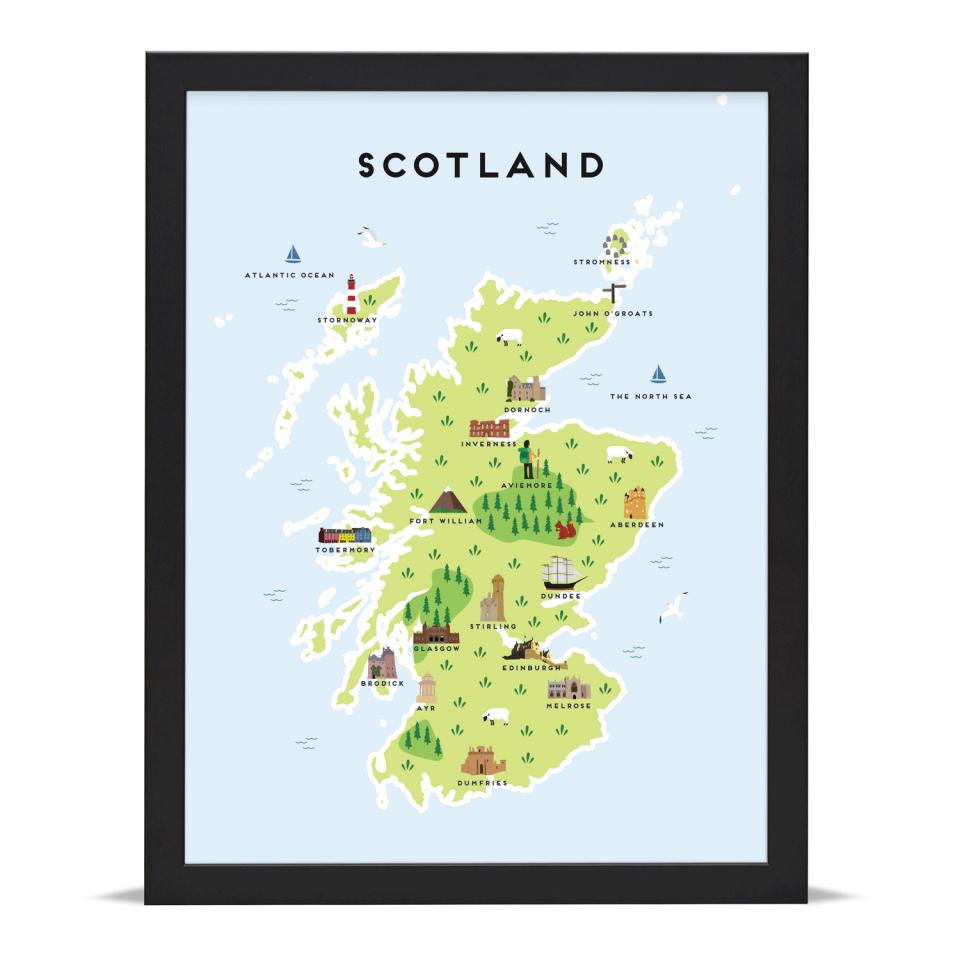 Place in Print Pepper Pot Studios Scotland Illustrated Map Art Print Black Frame