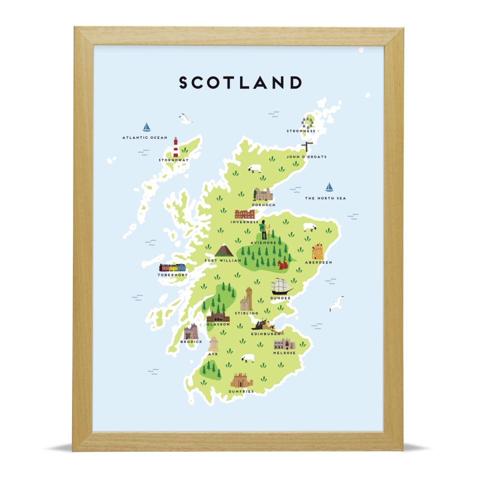 Place in Print Pepper Pot Studios Scotland Illustrated Map Art Print Wood Frame