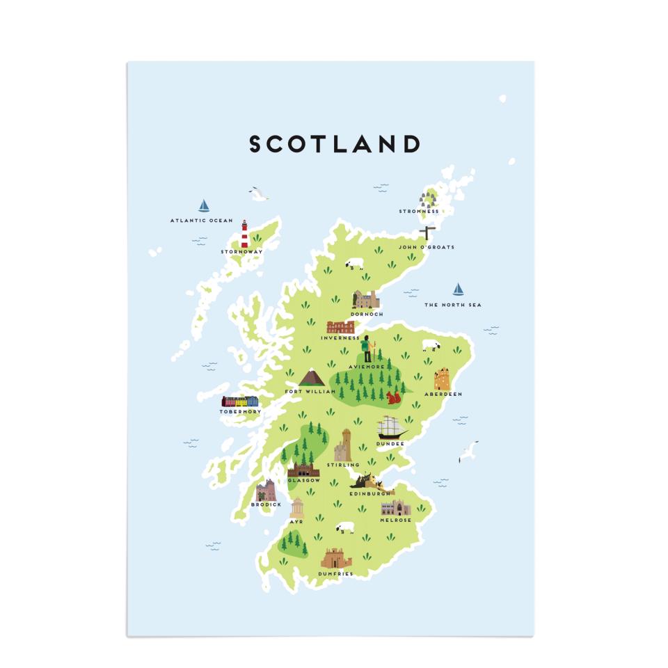 Place in Print Pepper Pot Studios Scotland Illustrated Map Art Print Unframed