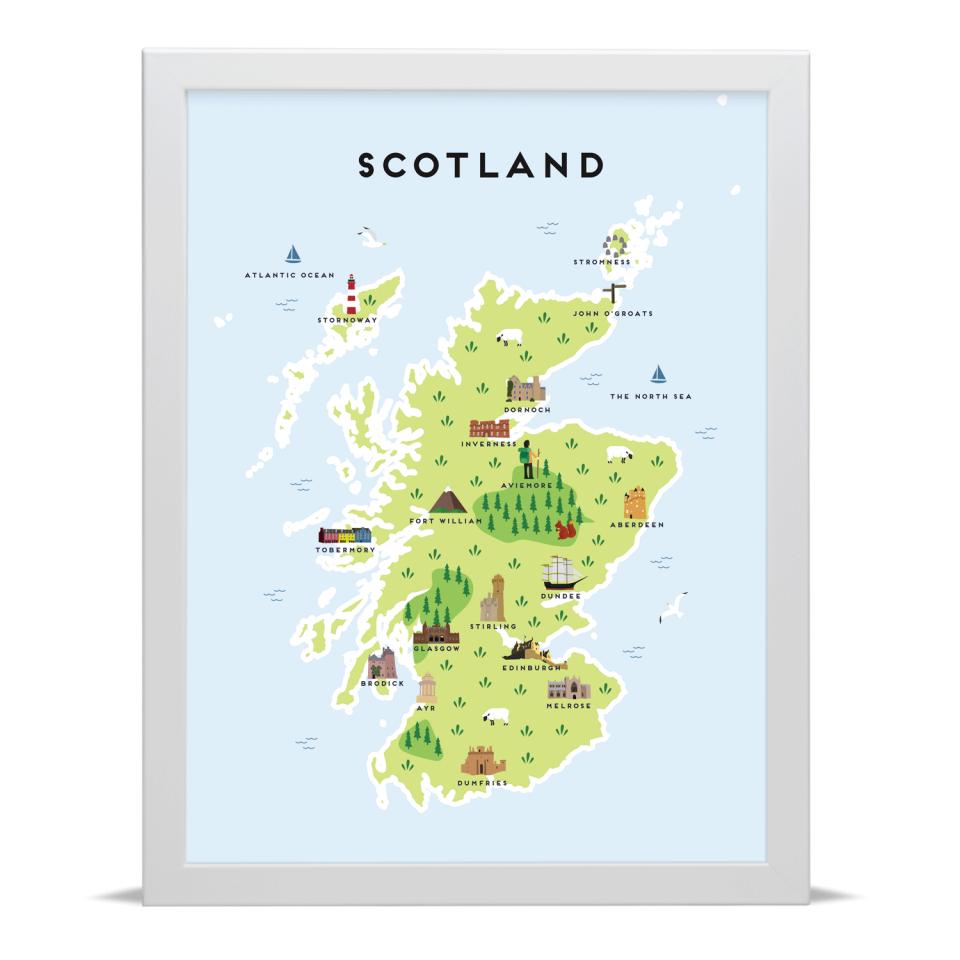 Place in Print Pepper Pot Studios Scotland Illustrated Map Art Print White Frame