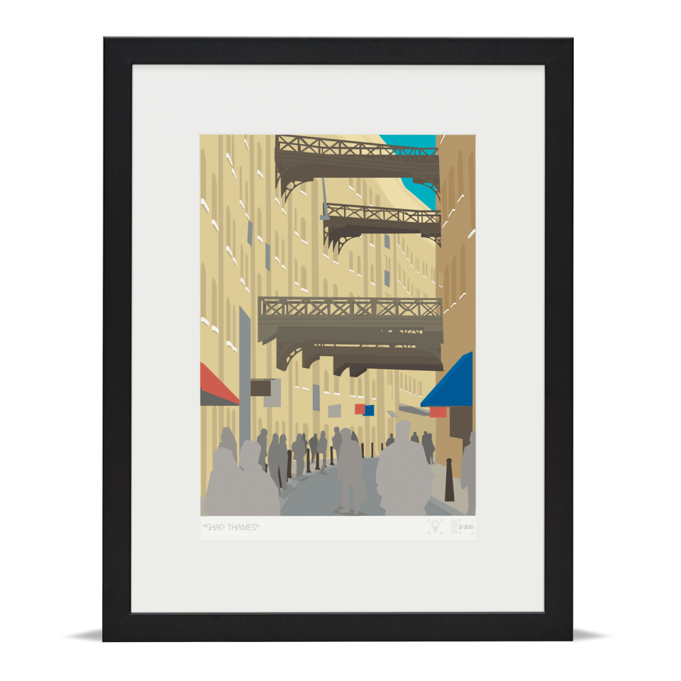 Place in Print Shad Thames London Bridge Banner Art Poster Print Black Frame