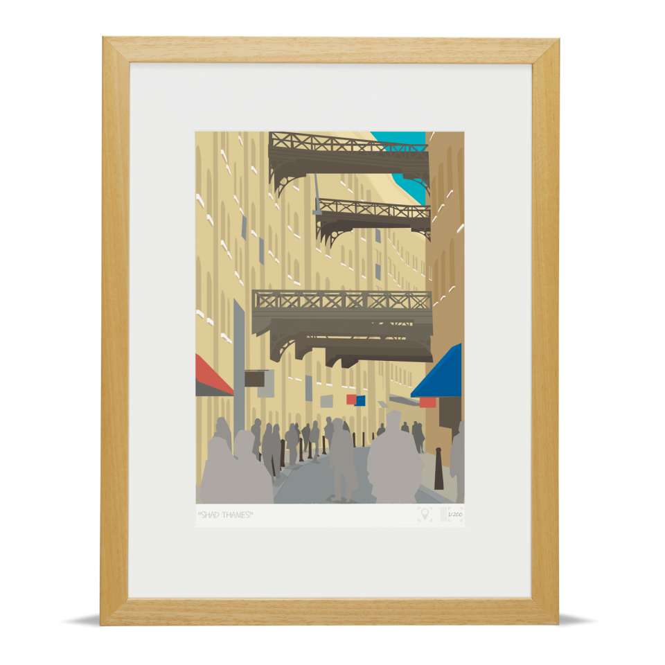 Place in Print Shad Thames London Bridge Banner Art Poster Print Wood Frame