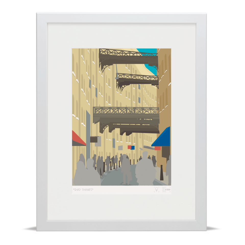 Place in Print Shad Thames London Bridge Banner Art Poster Print White Frame