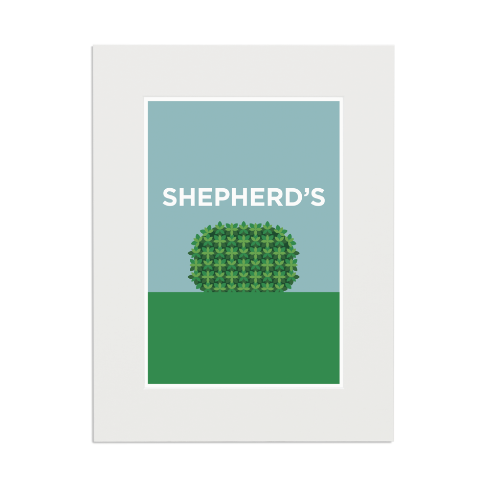 Place in Print Pate Shepherd's Bush Neighbourhood Pun Art Print Mounted