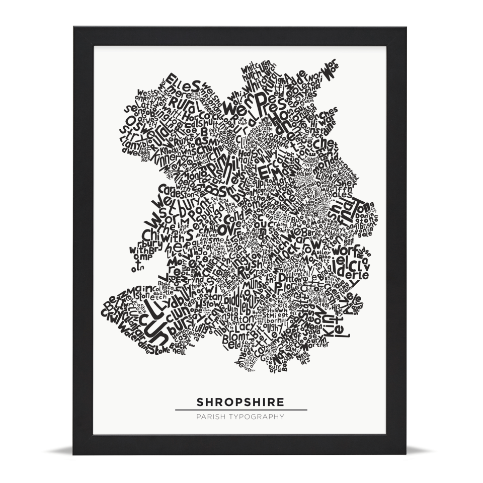 Place in Print Shropshire Typography Parish Map Art Print Black Frame