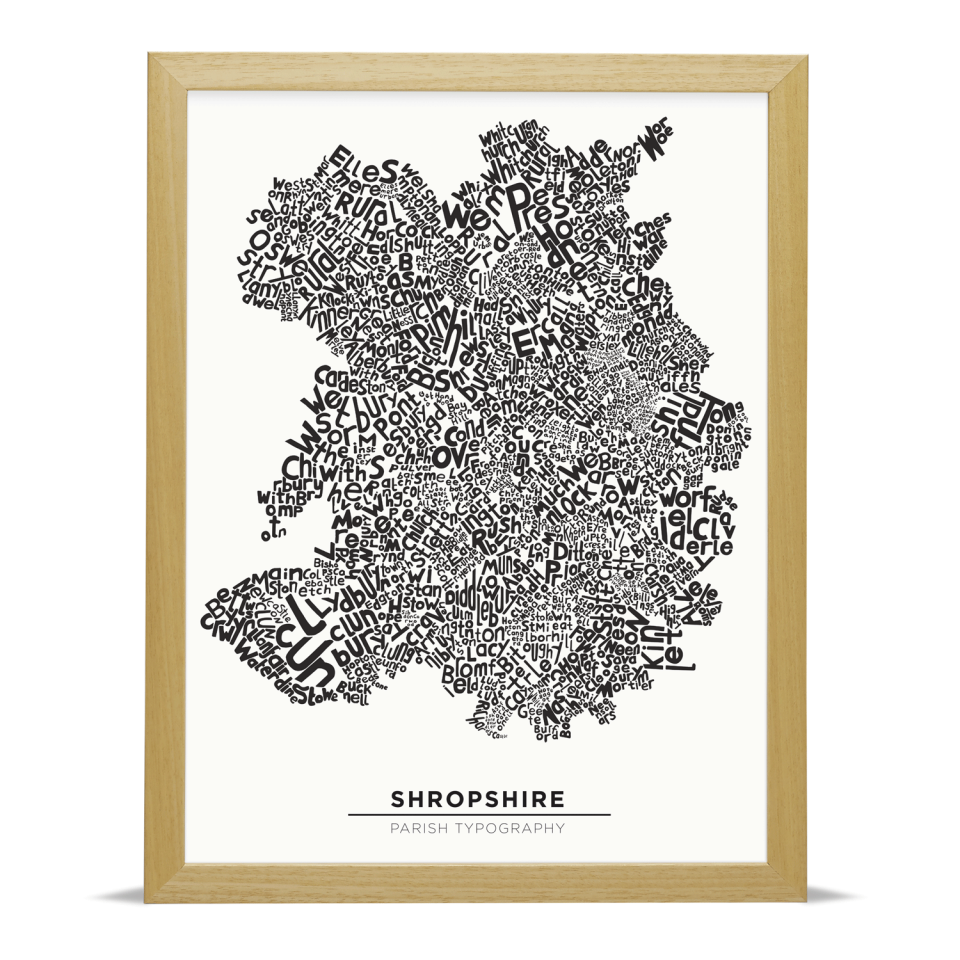 Place in Print Shropshire Typography Parish Map Art Print Wood Frame