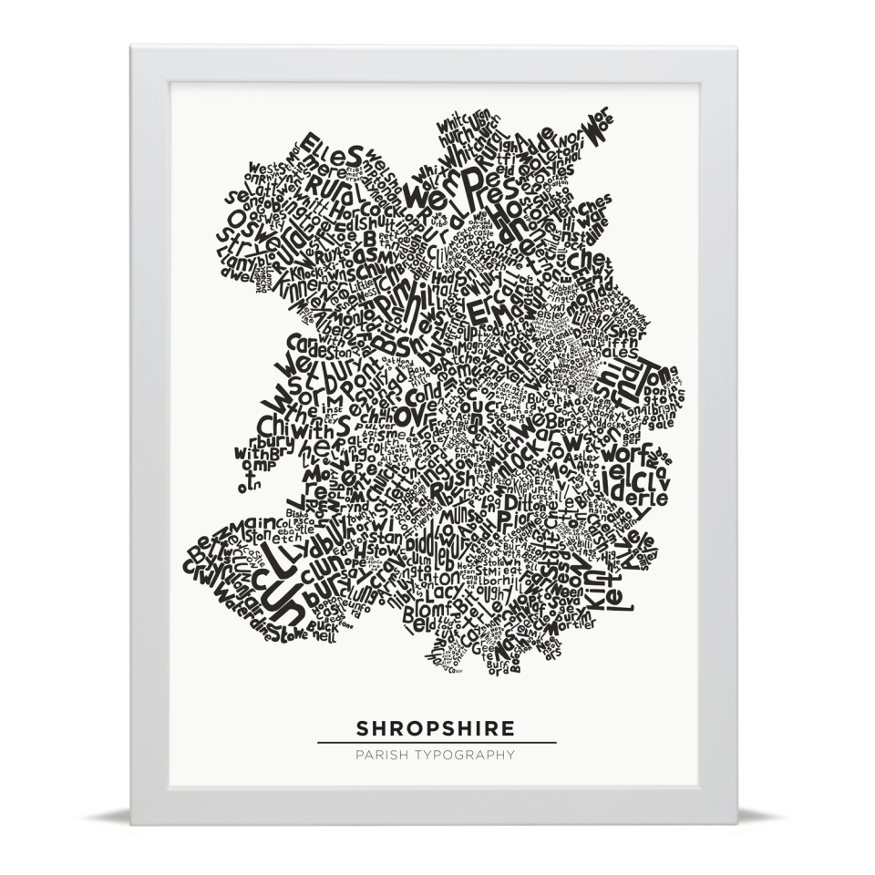 Place in Print Shropshire Typography Parish Map Art Print White Frame