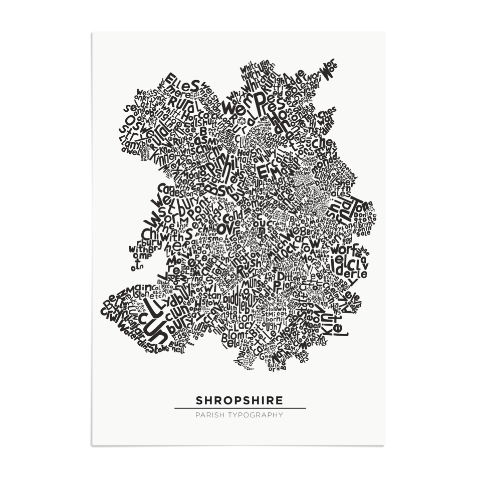 Place in Print Shropshire Typography Parish Map Art Print Unframed