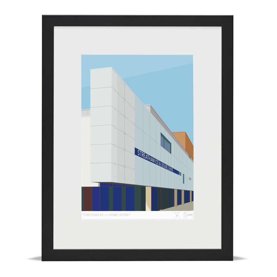 Place in Print Streatham Ice and Leisure Centre Art Print Black Frame