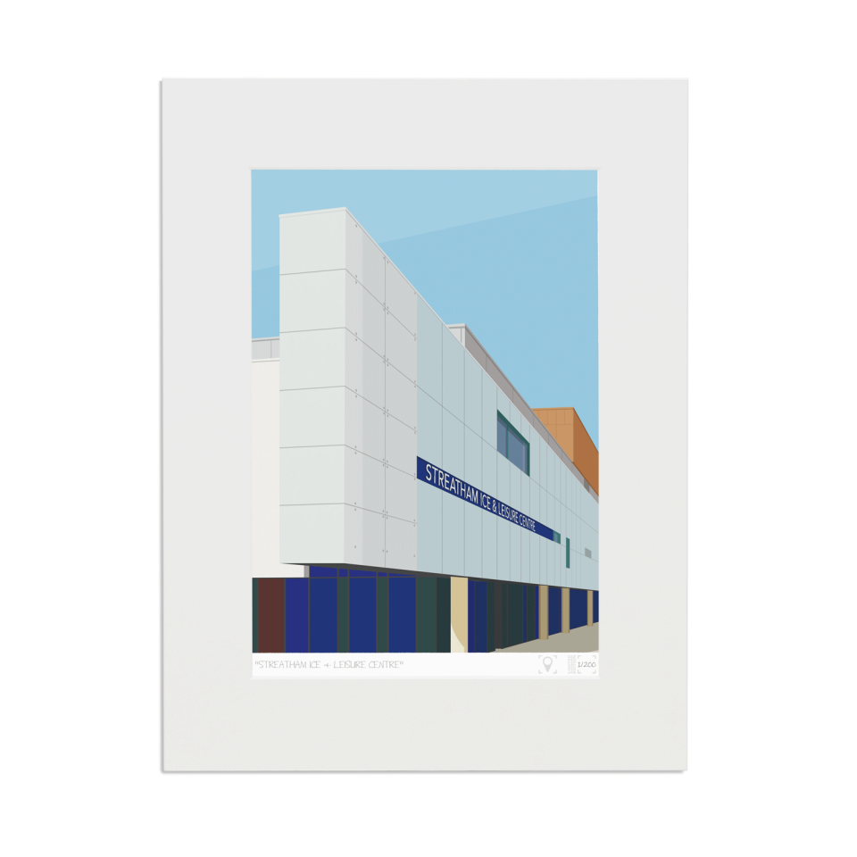Place in Print Streatham Ice and Leisure Centre Art Print Mounted