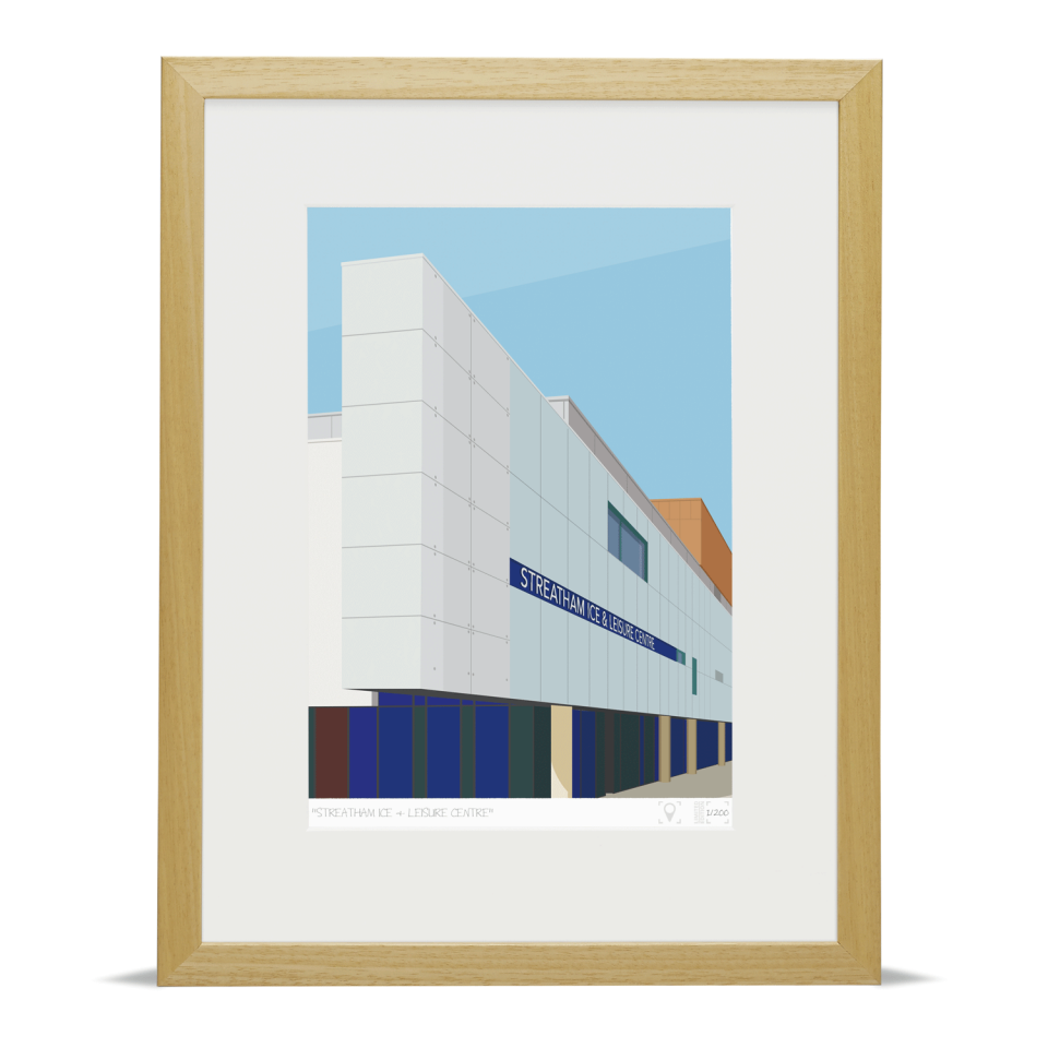 Place in Print Streatham Ice and Leisure Centre Art Print Wood Frame