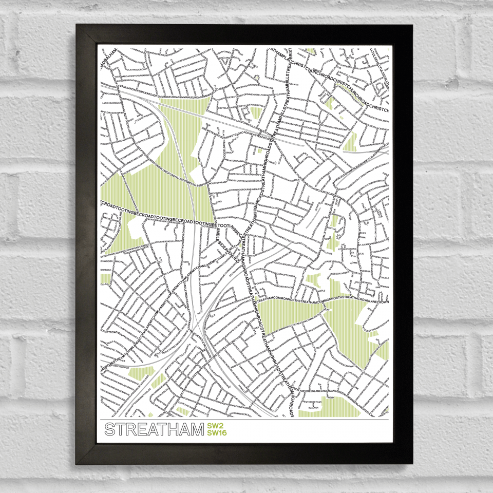 Place in Print Streatham Typographic Map Poster Print Black Frame