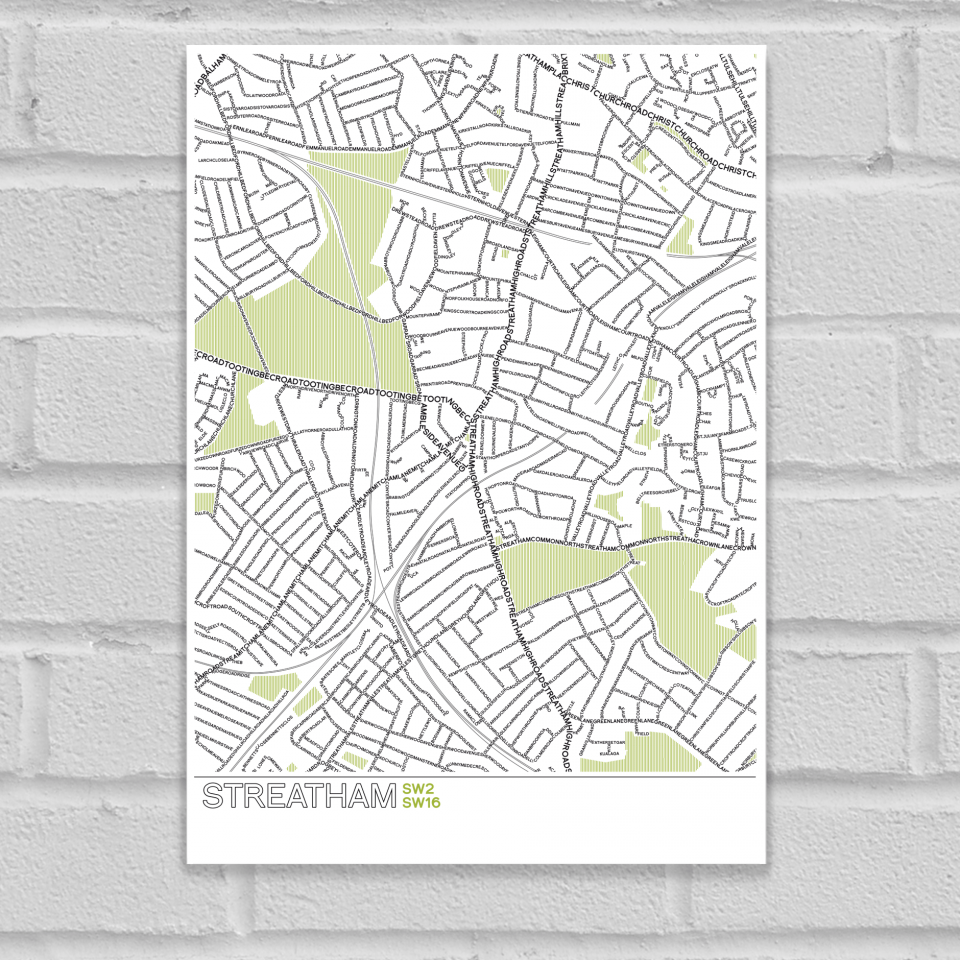 Place in Print Streatham Typographic Map Poster Print Unframed