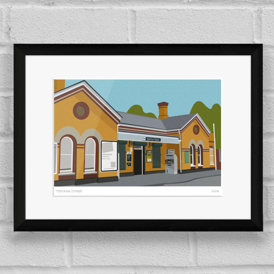 Sydenham Station Art Poster Print Black Frame