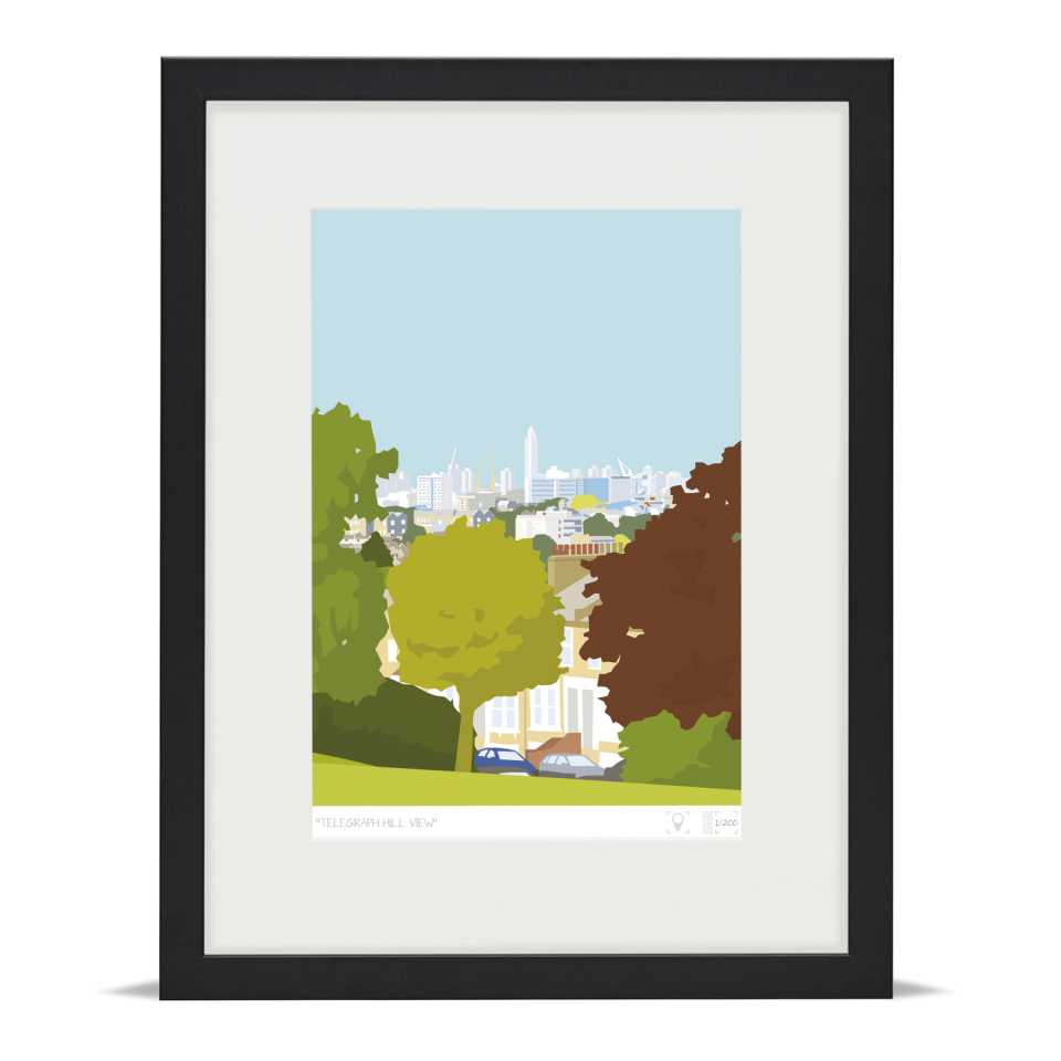 Place in Print Telegraph Hill View Brockley Art Print Black Frame