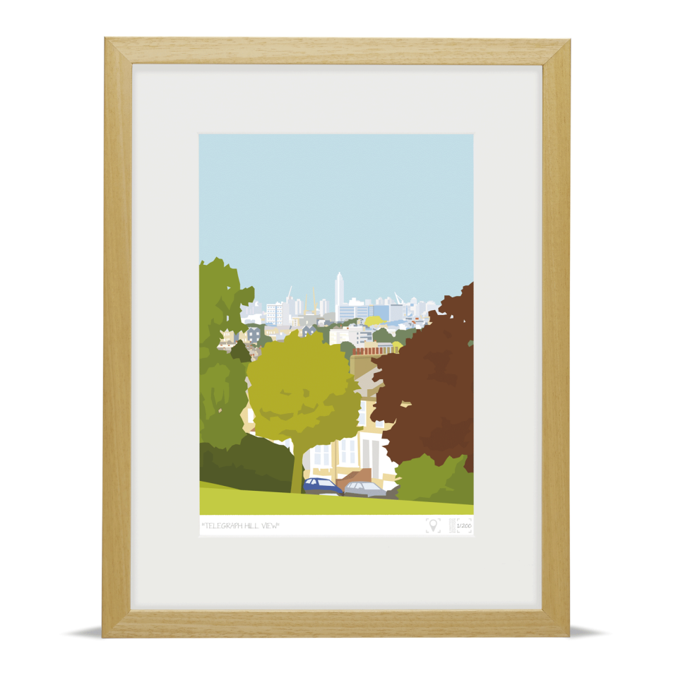 Place in Print Telegraph Hill View Brockley Art Print Wood Frame