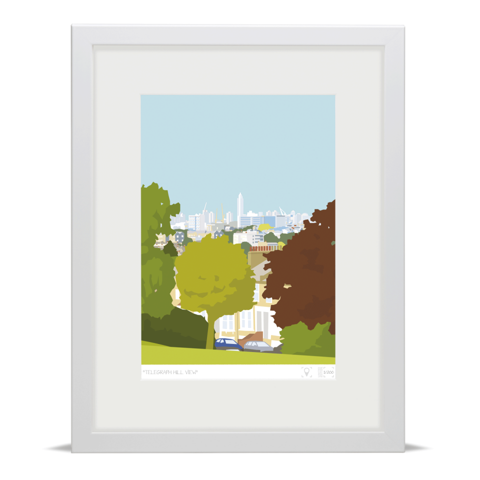 Place in Print Telegraph Hill View Brockley Art Print White Frame