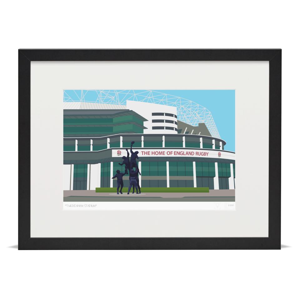 Place in Print Twickenham Rugby Stadium London Art Print Black Frame