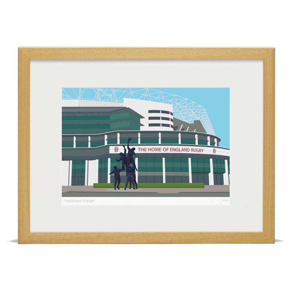 Place in Print Twickenham Rugby Stadium London Art Print Wood Frame