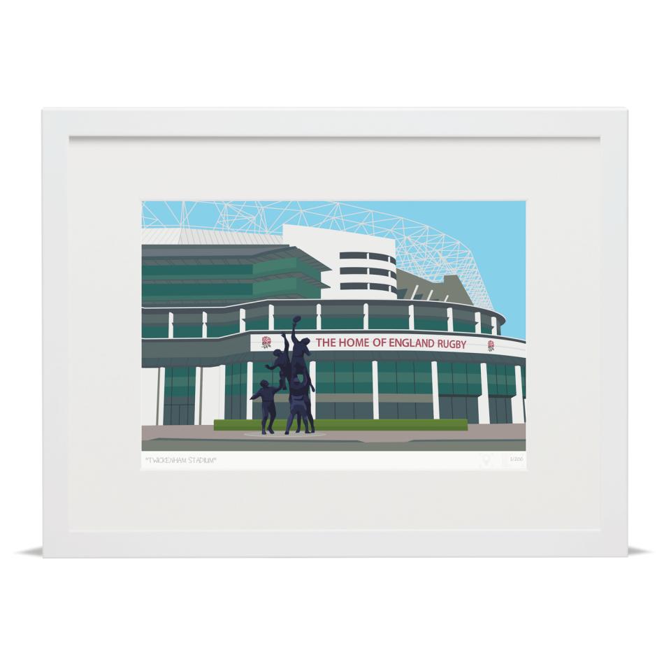 Place in Print Twickenham Rugby Stadium London Art Print White Frame