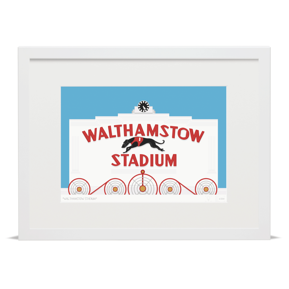 Place in Print Walthamstow Stadium Art Poster Print White Frame