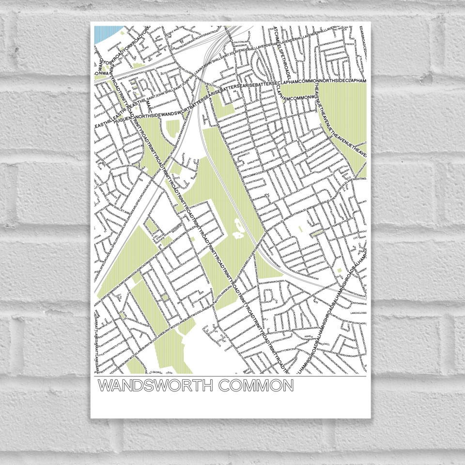 Place in Print Wandsworth Common Typographic Map Poster Print Unframed