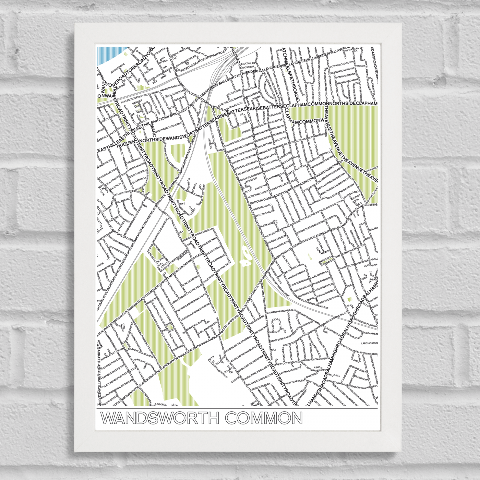 Place in Print Wandsworth Common Typographic Map Poster Print White Frame