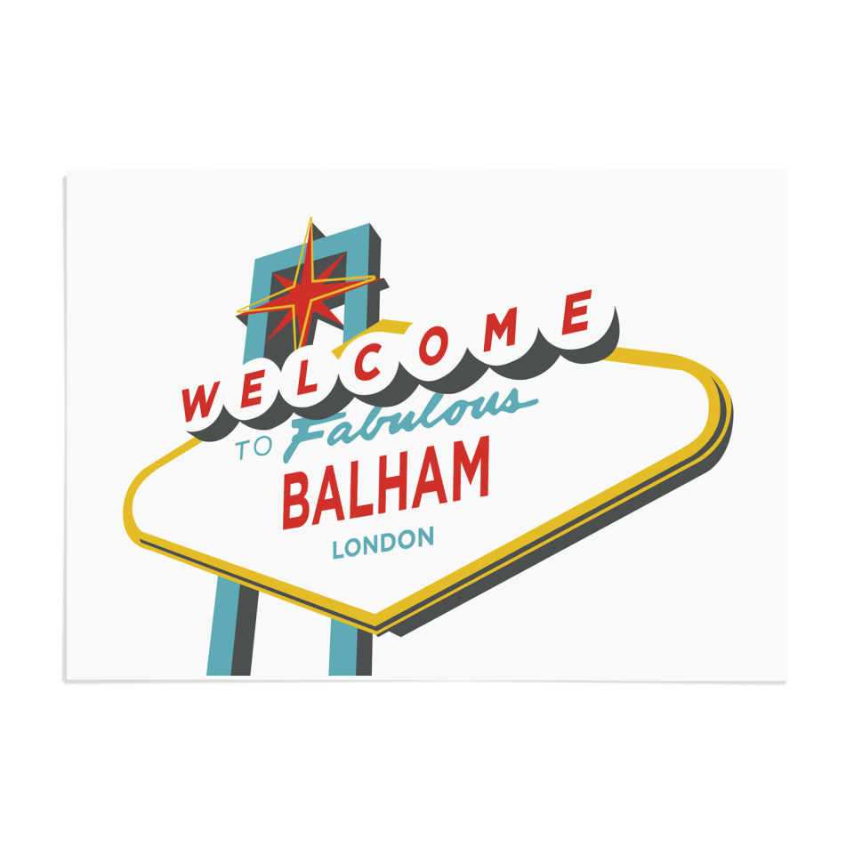 Place in Print Welcome to Balham Vegas Sign Art Print Unframed