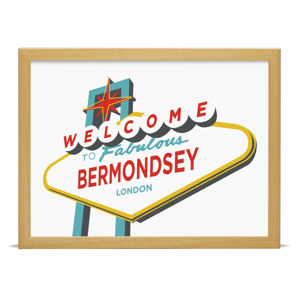 Place in Print Welcome to Bermondsey Vegas Sign Art Print Wood Frame