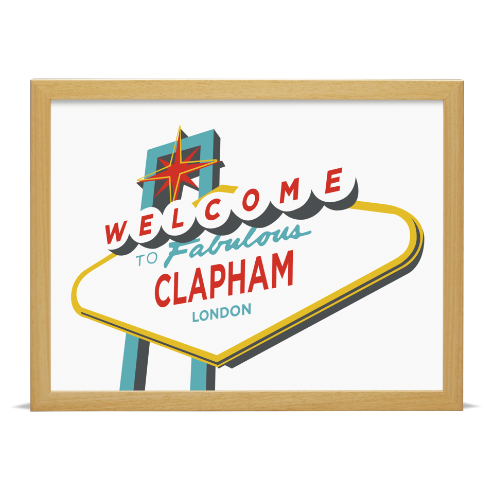 Place in Print Welcome to Clapham Vegas Sign Art Print Wood Frame