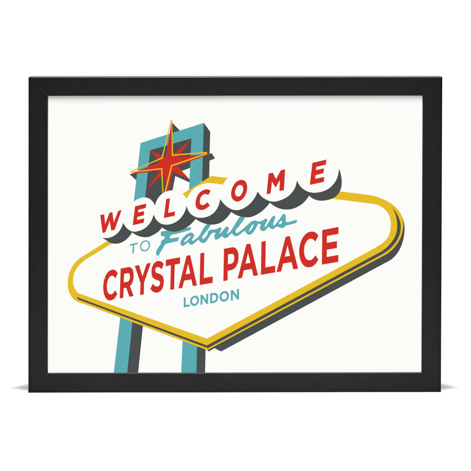 Place in Print Welcome to Crystal Palace Vegas Sign Art Print Black Frame