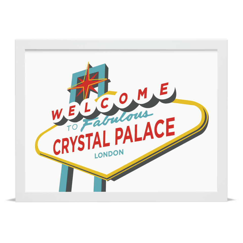 Place in Print Welcome to Crystal Palace Vegas Sign Art Print White Frame