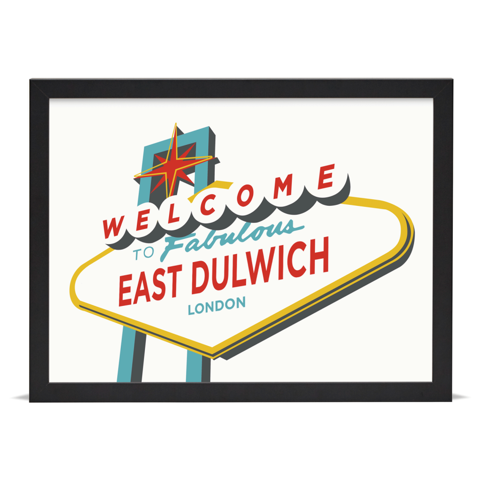 Place in Print Welcome to East Dulwich Vegas Sign Art Print Black Frame
