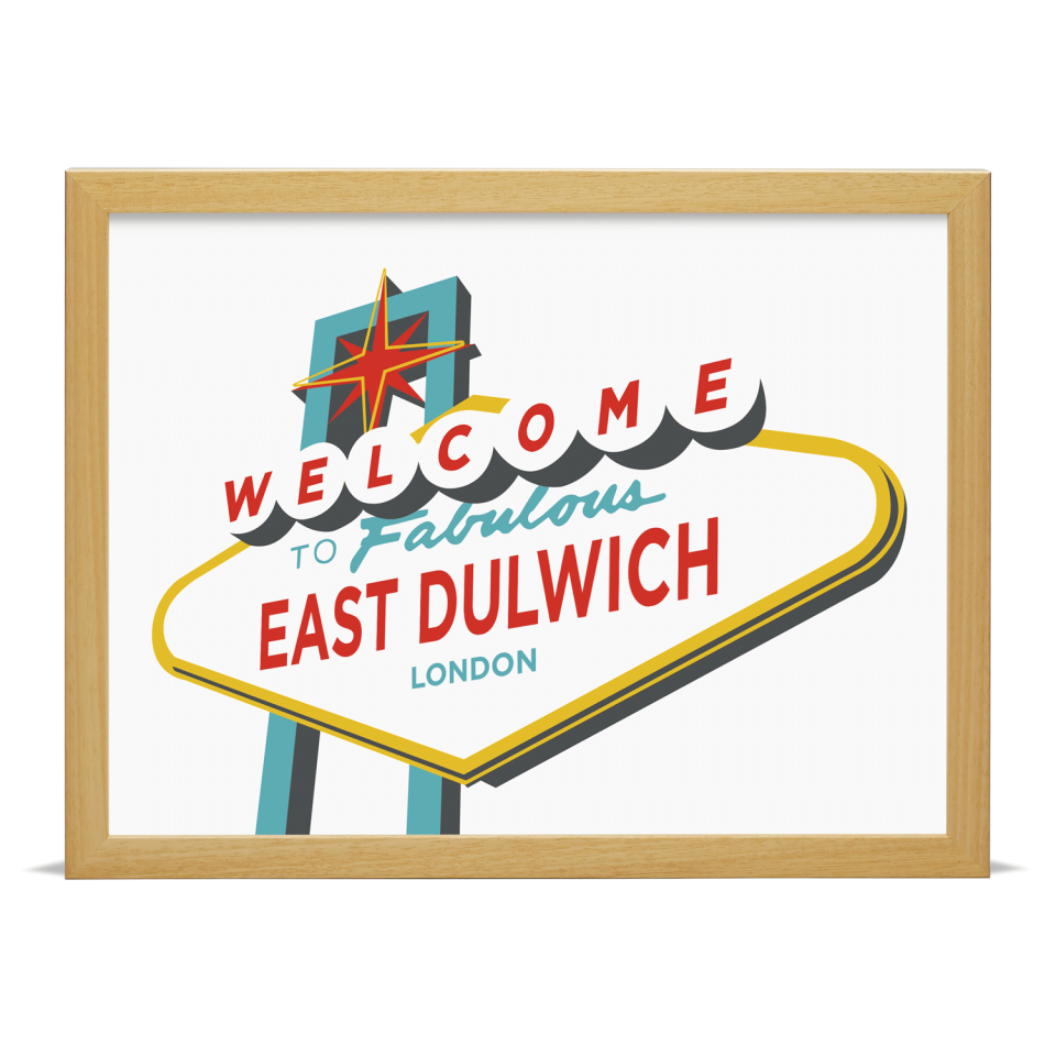 Place in Print Welcome to East Dulwich Vegas Sign Art Print Wood Frame