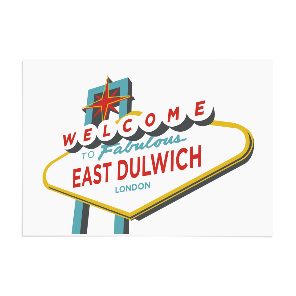 Place in Print Welcome to East Dulwich Vegas Sign Art Print Unframed